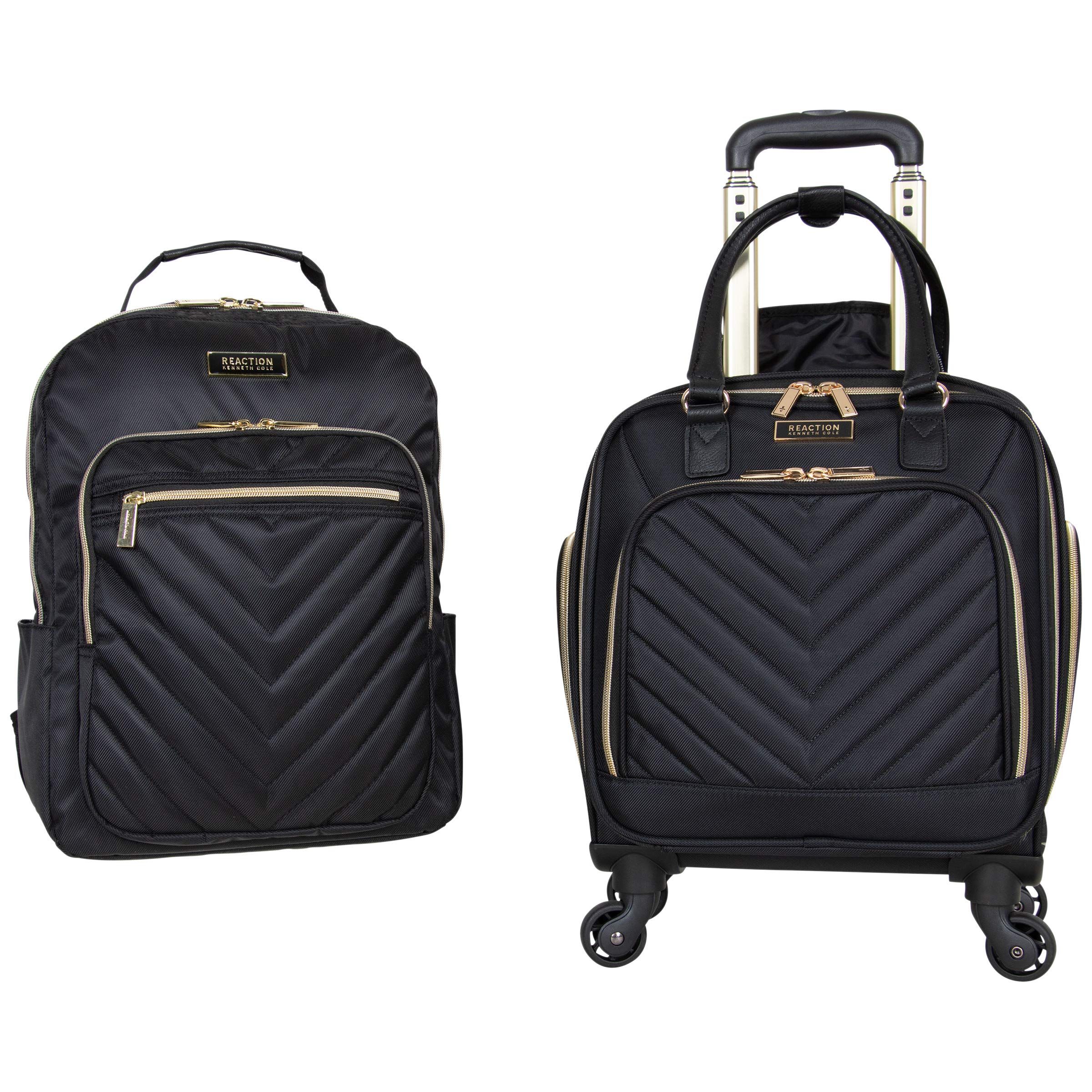 """Kenneth Cole Reaction Women's Chelsea 2-Piece 17"""" 4-Wheel Spinner Underseater Carry-On & Matching 15"""" Laptop Backpack, Black"""