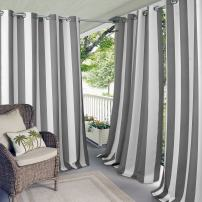"Elrene Home Fashions Aiden Indoor/Outdoor UV Protectant Cabana Stripe Grommet Top Window Curtain Panel for Patio, Pergola, Porch, Deck, and Lanai, 50"" x 108"" (1, Gray"