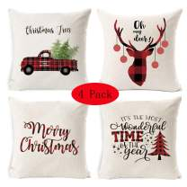 LUBOT 4 Pack Christmas Throw Pillow Covers 18 X 18 Inch Christmas Trees Car/Truck Deer Merry Christmas Sofa Decorative Throw Pillow Case Cushion Covers Fresh