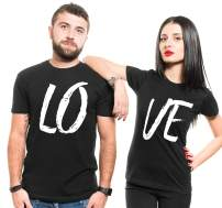 Couple Matching Love Shirts Mens Cotton Shirt Womens Fit Black Shirts