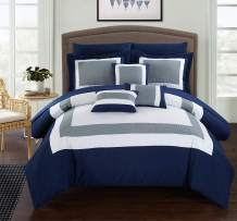 Chic Home CS1459 10 Piece Duke Patchwork Color Block Complete King Bed in a Bag Comforter Set Navy Sheets Included