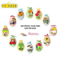 Toyrifik 12 Pack Easter Egg Ornaments Paint Craft for Kids- Easter Basket Fillers, Party Favors, Painting Eggs Easter Gift