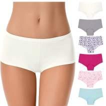 Curve Muse Women Plus Size Low Mid Waist Cotton Boyshort Hipsters Panties-6 Pack