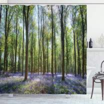 """Ambesonne Woodland Shower Curtain, Bluebells in Wepham Woods Landscape Flowers Rural Countryside Woodland, Cloth Fabric Bathroom Decor Set with Hooks, 84"""" Long Extra, Green Lavender"""