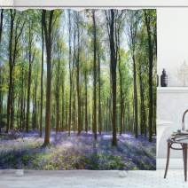 "Ambesonne Woodland Shower Curtain, Bluebells in Wepham Woods Landscape Flowers Rural Countryside Woodland, Cloth Fabric Bathroom Decor Set with Hooks, 84"" Long Extra, Green Lavender"