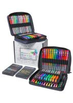 ColorIt 96 Gel Pens For Adult Coloring Books - 2 Travel Case Gel Pen Sets with 72 Glitter, 12 Metallic, 12 Neon Plus 96 Matching Colored Gel Ink Refills