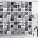 "Ambesonne Grey Shower Curtain, Mixed Checkered Squared Scotch Plaid Striped Patterns in Patchwork Style Image, Cloth Fabric Bathroom Decor Set with Hooks, 70"" Long, Black Grey"