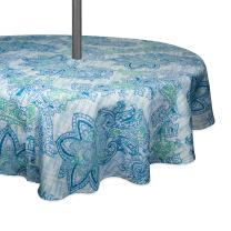 "DII CAMZ10392 TC Outdoor Zip Paisley 52RND, 52"" Round w/Zipper, Blue Watercolor"
