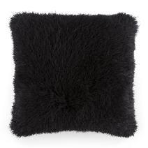 Lavish Home Oversized Floor or Throw Pillow Square Luxury Plush– Shag Faux Fur Glam Decor Cushion for Bedroom Living Room or Dorm (Black)
