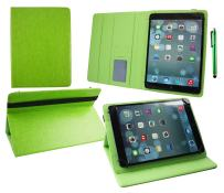 Emartbuy Universal 9.1 Inch - 10.1 Inch Green Multi Angle Folio Wallet Case Cover with Card Slots Green Interior Black Elastic Strap and Stylus Pen Compatible with Selected Devices Listed Below