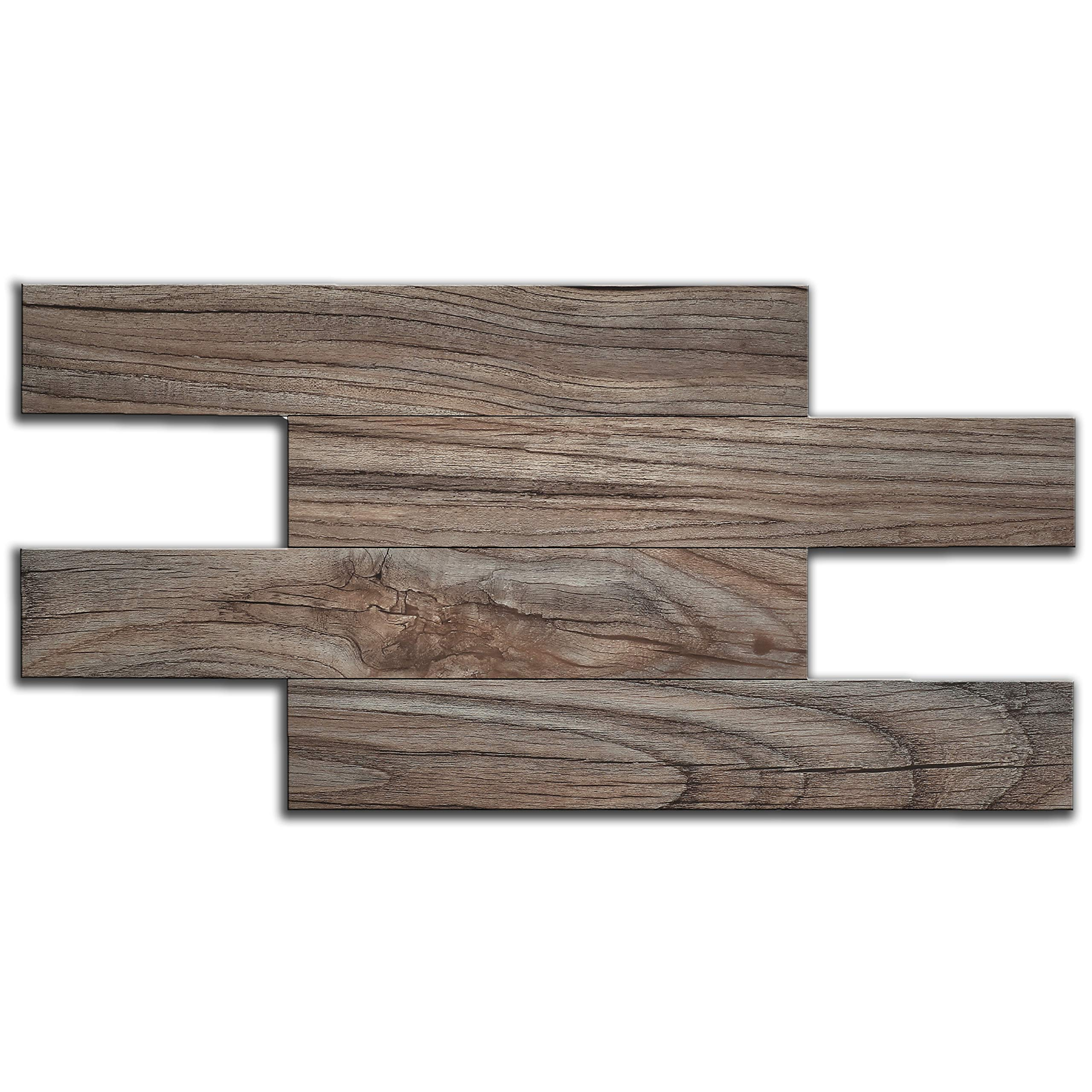 artesanía muro Peel and Stick Wall Tiles, Kitchen Bathroom Backsplash Tile, Wood Grain, Adhesive, Fire Proof, Water Proof, Anti-Moldy, 13.4 inch x 6.7 inch per Tile, Pack of 6 Tiles