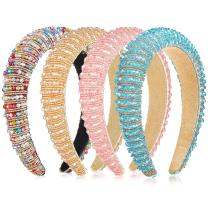 4 Pieces Beaded Rhinestone Headbands for Women Padded Hairbands Wide Hair Hoops Headband Crystal Embellished Headband Hair Accessories for Girls (Light Blue, Pink, Rainbow, Champagne)