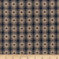 Textile Creations Navy Country Cupboard Jacquard Star Plaid Yarn Dyed Fabric by The Yard