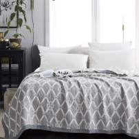 NTBAY Multilayer Muslin Natural Cotton Twin Bed Blanket, 68 x 92 Inches, Grey Diamond