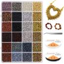 4800Pcs 8/0 Glass Pony Seed Beads Kit, Gacuyi 24Colors 3mm Small Craft Beads for DIY Bracelet Necklace Crafting Jewelry Making Supply with 2Pcs 0.8mm Elastic String and Tweezers (200Pcs Per Color)