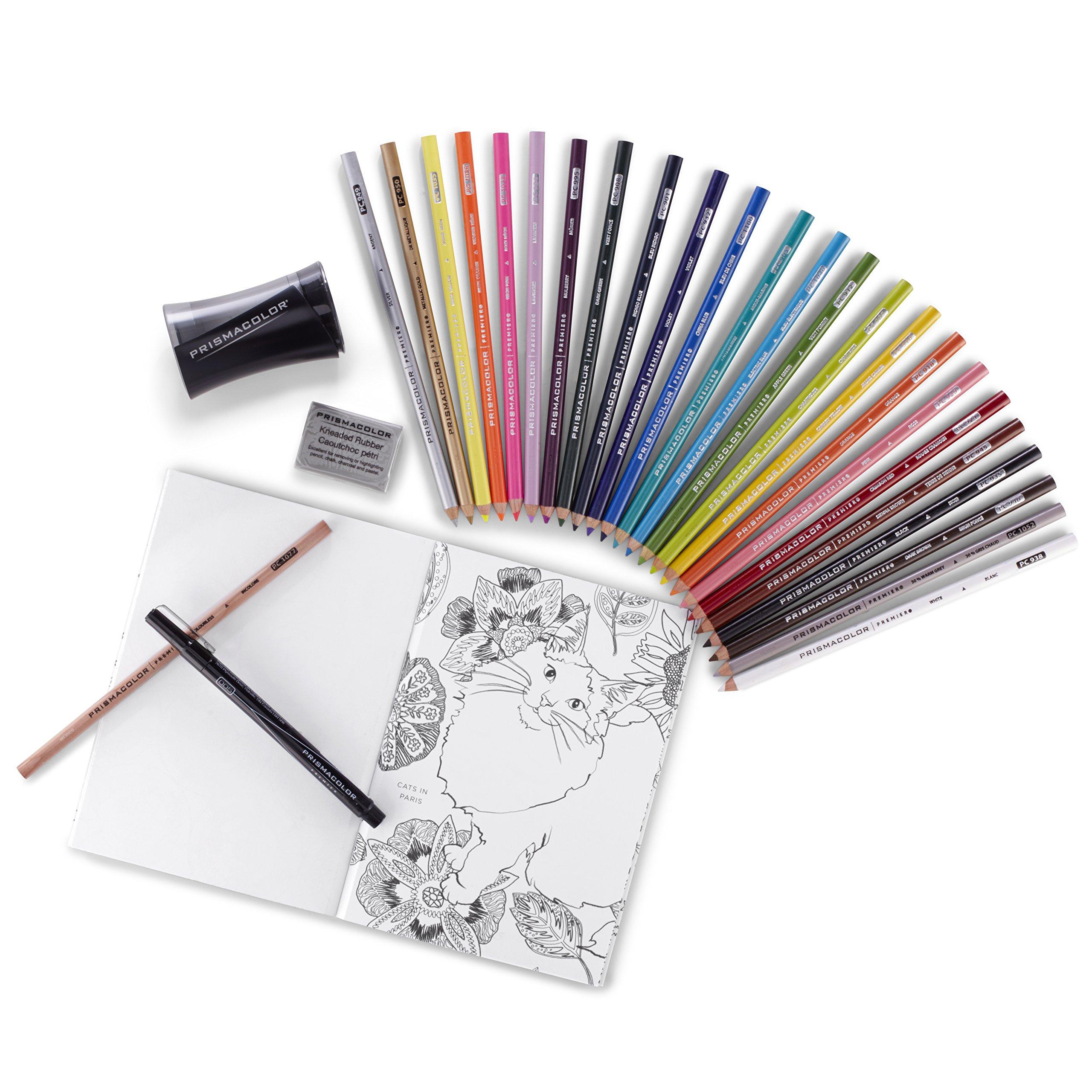 Prismacolor 1978739 Premier Pencils Adult Coloring Kit with Blender, Art Marker, Eraser, Sharpener & Booklet, 29 Piece