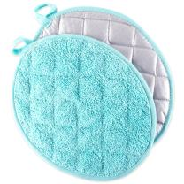 DII 100% Cotton, Quilted Terry Oven Set Machine Washable, Heat Resistant with Hanging Loop, Oval Potholder, Aqua 2 Count