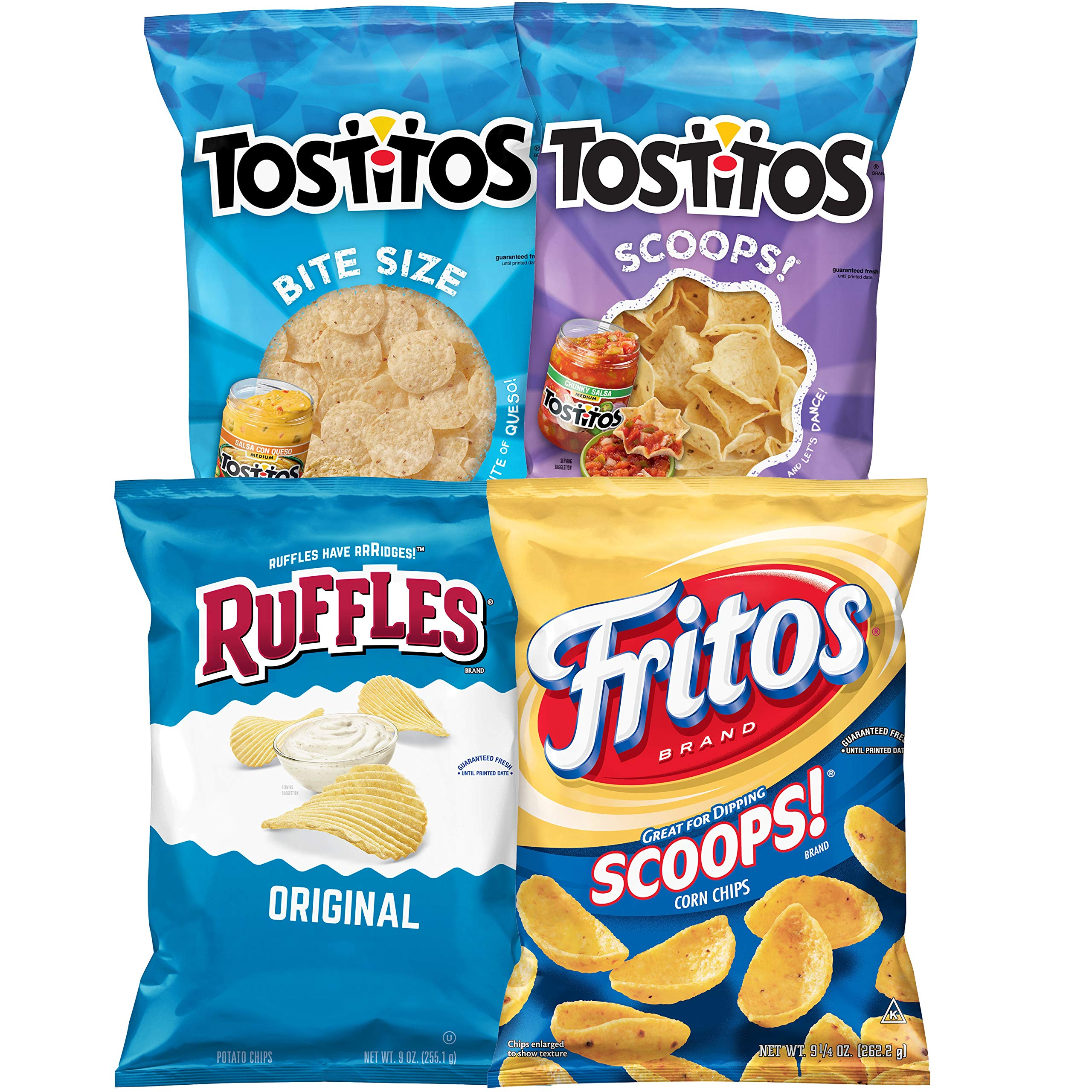 Frito-Lay Good for Variety Pack with Tostitos Scoops Tostitos BiteSize Ruffles Fritos Pack, Big Bag Dipping Mix, 4 Count