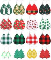 WFYOU 16 Pairs Christmas Faux Leather Earrings for Women Girls Handmade Lightweight Xmas Jewelry Teardrop Glitter Earrings Christmas Tree Earrings Set