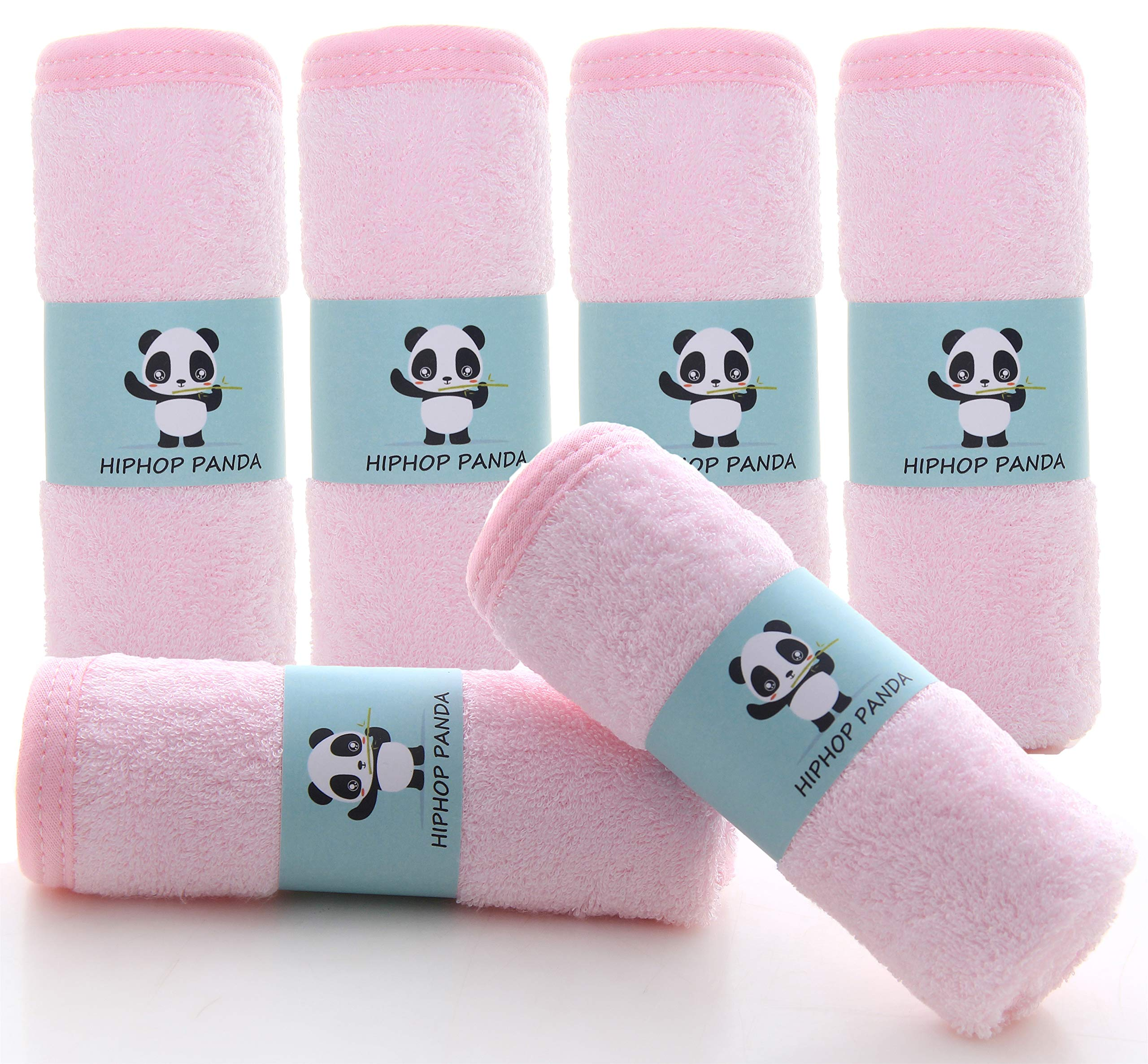 Bamboo Baby Washcloths - Hypoallergenic 2 Layer Ultra Soft Absorbent Bamboo Towel - Newborn Bath Face Towel - Natural Reusable Baby Wipes for Sensitive Skin -Baby Registry as Shower (Pink)