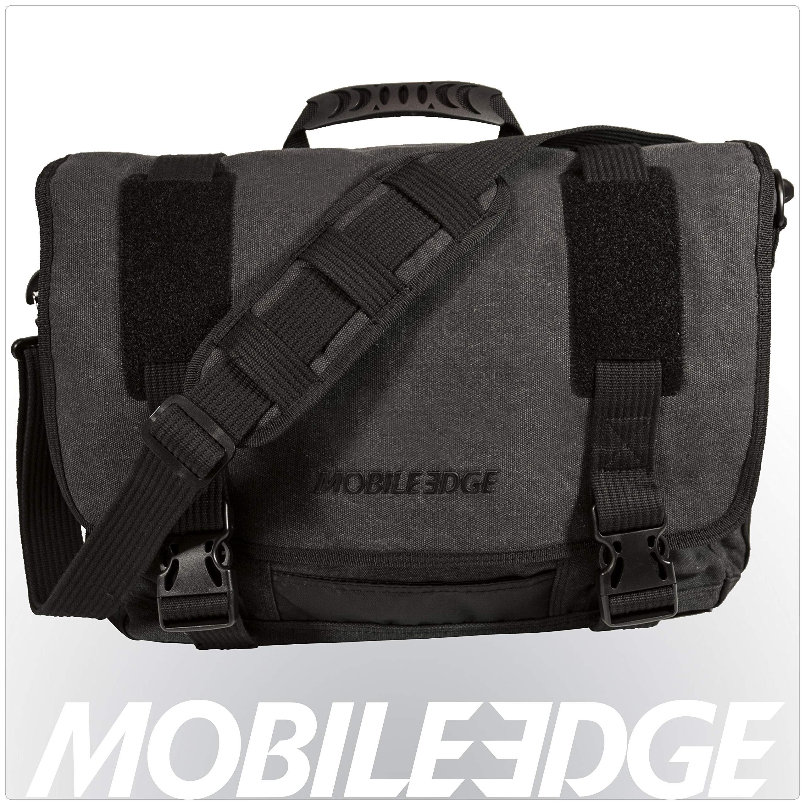 "Mobile Edge Laptop/Tablet 14.1"" Ultrabook or 15"" MacBook Eco-Friendly Messenger Bag, Cotton Canvas, Charcoal for Men, Women, Business, Student MEUME5 Ash"