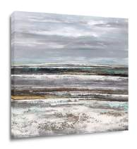 Yihui Abstract Art Seascape Picture Paintings Blue Gray Oil Painting Modern Pop Type Print on Canvas for Walls Ready to Hang (28Wx28L)