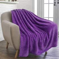 PAVILIA Plush Sherpa Throw Blanket for Couch Sofa | Fluffy Microfiber Fleece Throw | Soft, Fuzzy, Cozy, Shaggy, Lightweight | Violet Purple Blanket | 50 x 60 Inches