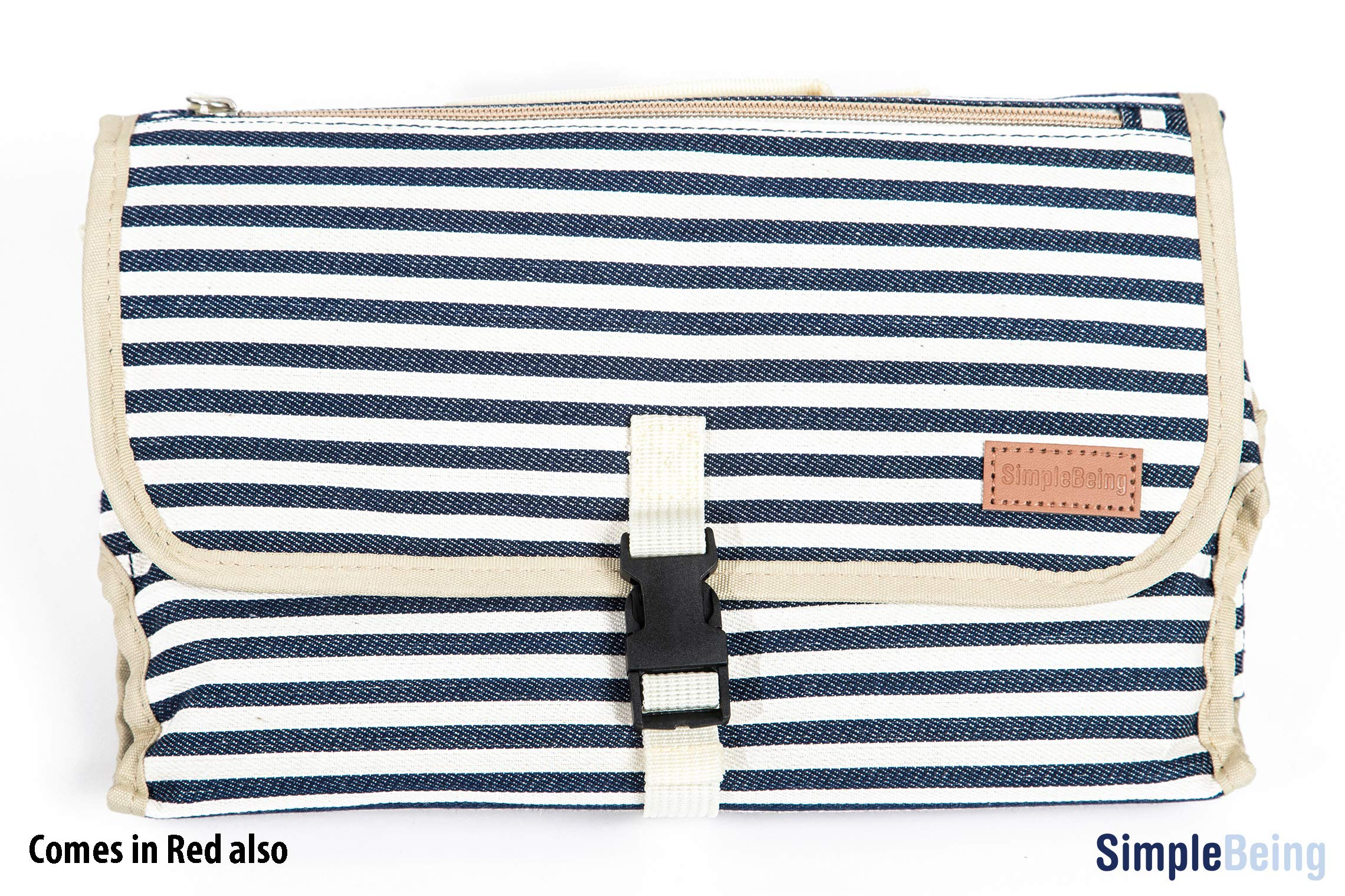 Simple Being Portable Changing Pad, Travel Diaper Canvas Clutch Mat, Diaper Bag Essential with Storage Pockets for Wipes and a Supportive Foam Head Pillow Padding (Navy Stripe)