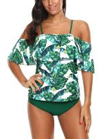 Memory baby Women's Swimsuit Two Piece Off Shoulder Flounce Bathing Suit Leaf Printed Tankini Set Ladies Swimwear