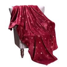 "Exclusivo Mezcla Starry Flannel Fleece Large Throw Blanket, Golden Snowflakes& Stars(50"" x 70"", Burgundy)- Decorative, Lightweight, Soft and Warm"