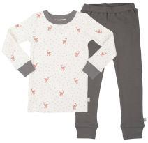 Finn + Emma Organic Cotton Pajama Sleep Set for Baby Boy or Girl – Fawn, 12-18 Months