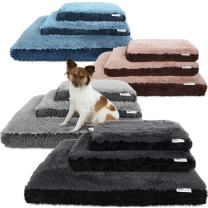 Paws & Pals Dog Bed for Pets & Cats - Fuzzy Foam Deluxe Premium Bedding Cuddler Lounger Two-Toned Design for Home & Crate (Small, Black)