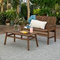 Walker Edison AZW2LSGVINDB Outdoor Wood Chevron Patio Furniture Set Loveseat Coffee Table All Weather Backyard Conversation Garden Poolside Balcony, Dark Brown