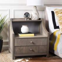 Safavieh Home Collection Ellie 2 Drawer Nightstand, Weathered/Oak