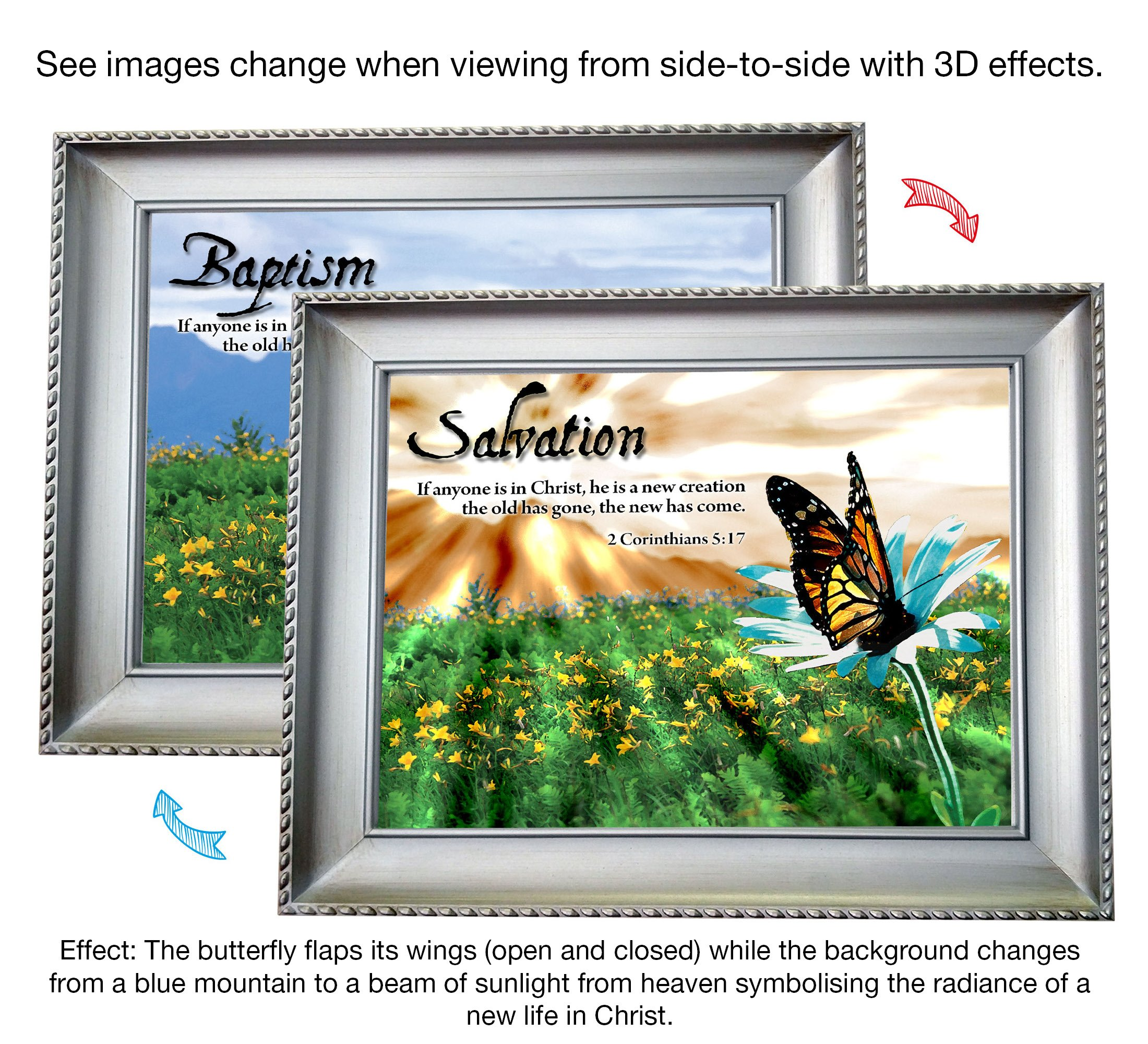 VERSERIES - Baptism Picture Frame - Christian Gift and Art - Animated Photo Frame - Bible Verse Gift - Choose Your Design (Modern Silver Frame Design, Set of 1)