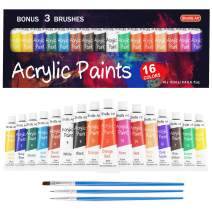 Shuttle Art Acrylic Paint Set, 16 x12ml Tubes Artist Quality Non Toxic Rich Pigments Colors Great for Kids Adults Professional Painting on Canvas Wood Clay Fabric Ceramic Crafts