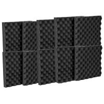 """12 Pack Acoustic Eggcrate Studio Panels Soundproofing Wall Tiles 1.5"""" X 12"""" X 12"""" Color: Charcoal"""