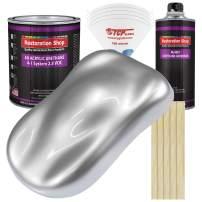 Restoration Shop - Iridium Silver Metallic Acrylic Urethane Auto Paint - Complete Gallon Paint Kit - Professional Single Stage High Gloss Automotive, Car, Truck Coating, 4:1 Mix Ratio, 2.8 VOC