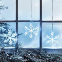 Battery Operated Cool White LED Acrylic Snowflake Hanging Christmas Window Light Decoration