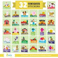 Massive Pack of 32 Baby Stickers, 12 Baby Monthly Stickers, 20 Popular Milestones Baby Stickers, Record Your Baby's Growth, Holidays And Special Firsts, Unique Baby Gifts- Farm Theme