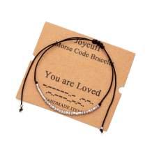 Inspirational Morse Code Encouragement Bracelets for Women Funny Jewelry Gifts for Teen Girls Daughter Sister Best Friend Friendship Adjustable Dainty Silk Beaded Wrap Bracelet