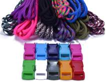 550 Paracord Bracelet Crafting Kit with Buckles - Random Colors and Patterns - Multiple Size Options