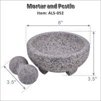 "ARC USA, 052 Granite Mortar and Pestle Set, Marble Stone Mortar and Pedestal, Spice Herb Grinder - Unpolished Heavy Granite for Enhanced Performance and Organic Appearance (8.0"")"