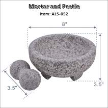 """ARC USA, 052 Granite Mortar and Pestle Set, Marble Stone Mortar and Pedestal, Spice Herb Grinder - Unpolished Heavy Granite for Enhanced Performance and Organic Appearance (8.0"""")"""