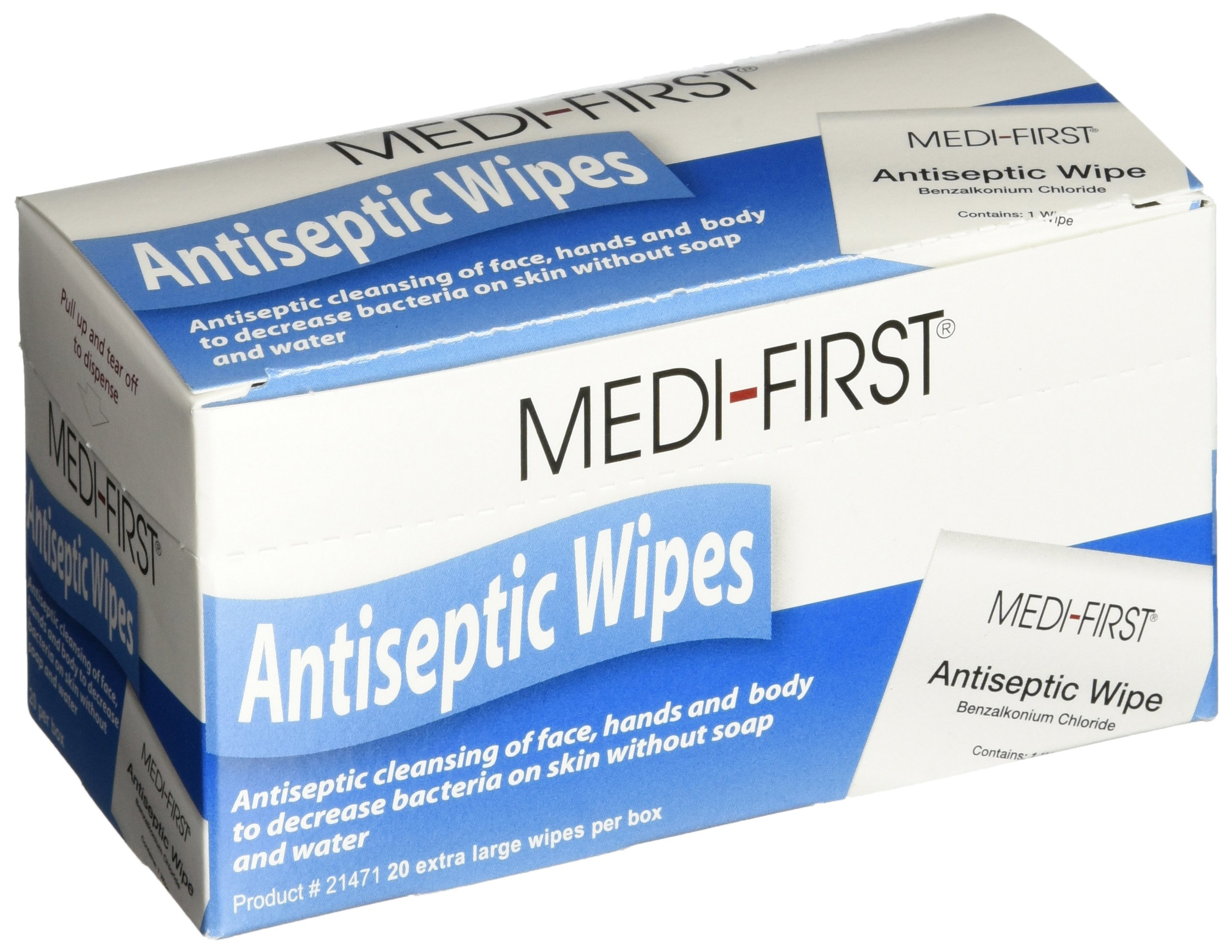 Medi-First Antiseptic Wipes, Benzalkonium Chloride Cleansing Towelettes, 20 Pack - 21471