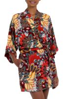 NOVICA Red Peacock Rayon Robe, Brush Fire'