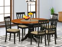 East-West Furniture AVAT7-BLK-C Kitchen table set- 6 Great kitchen chairs - A Gorgeous kitchen table- Microfiber Upholstery seat, Cherry and Black Finnish Butterfly Leaf mid-century dining table
