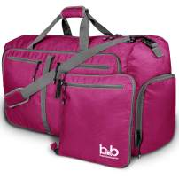 Medium Gym Duffle Bag with Pockets - Foldable Lightweight Travel Bag (Pink)