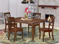 East West Furniture DUBO5-MAH-W 5Pc Rectangular 60 Inch Dinner Table And 4 Wood Seat Dining Chairs, 5, Mahogany