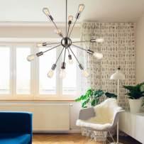 Sputnik Chandelier, 12 Lights Pendant Lighting, Vintage Ceiling Light with Nickel Finish,UL Listed,Naturous